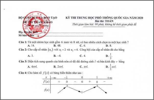 Đề thi minh họa môn toán THPT năm 2020 lần 1 của Bộ giáo dục