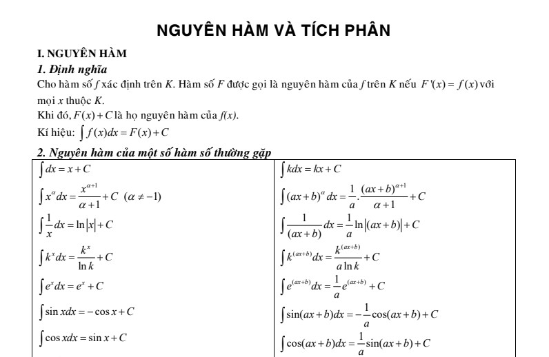 Tóm tắt công thức, phương pháp tính nguyên hàm và tích phân